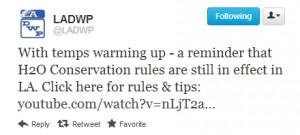 LADWP Tweet - Water Conservation PSA